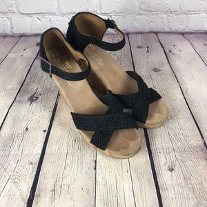 Toms Black Cork Heel Criss Cross Sandal Wedge